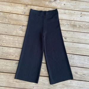 Lysse Black Elastic Waist Wide Leg Crop Pants S